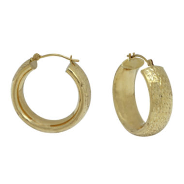 jcpenney.com | 14K Yellow Gold Diamond Cut Large Band Hoop Earrings