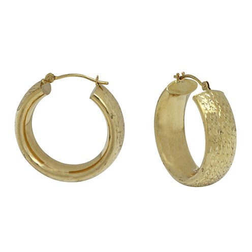 14K Yellow Gold Diamond Cut Large Band Hoop Earrings