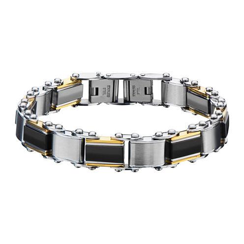 Inox® Jewelry Mens Stainless Steel Gold IP & Black IP Chain Bracelet