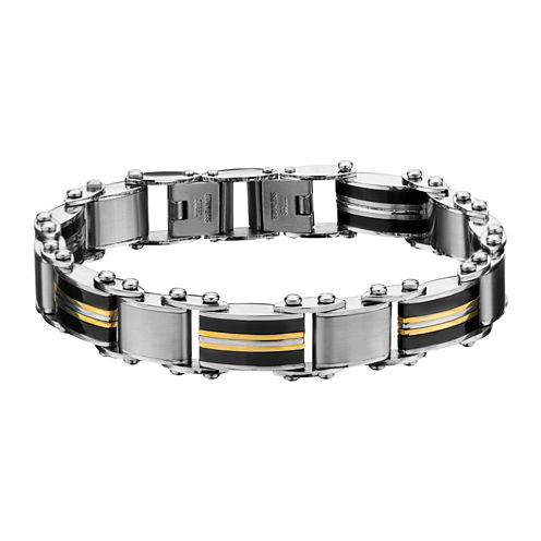 Inox® Jewelry Mens Stainless Steel Gold IP & Black IP Chain Bracelet
