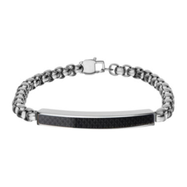 jcpenney.com | Inox® Jewelry Mens Stainless Steel Black Textured Plate ID Bracelet
