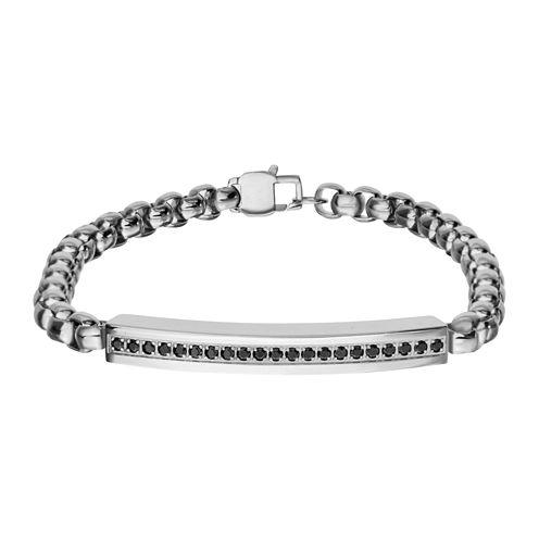 Inox® Jewelry Mens Black Cubic Zirconia Plate Stainless Steel ID Bracelet