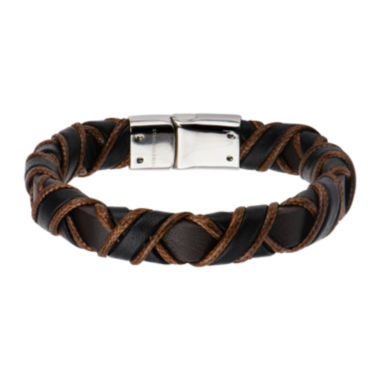jcpenney.com | Inox® Jewelry Mens Stainless Steel Black & Brown Woven Leather Bracelet