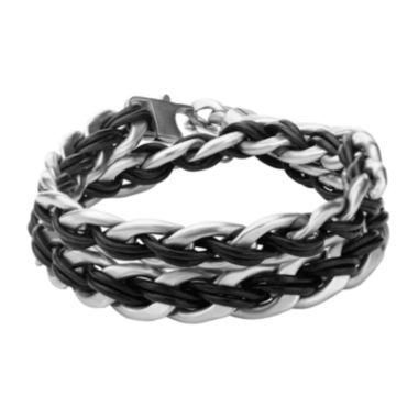 jcpenney.com | Inox® Jewelry Mens Stainless Steel & Black Leather Anchor Charm Bracelet