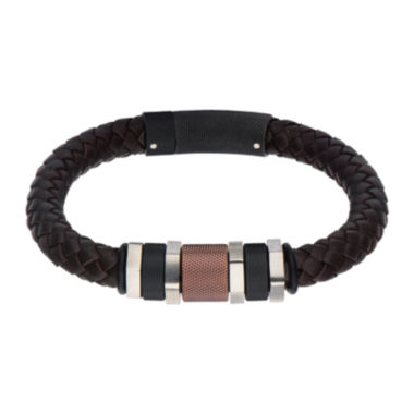 jcpenney.com | Inox® Jewelry Mens Stainless Steel Black IP & Brown IP Bead Leather Bracelet