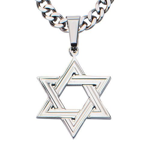 Inox® Jewelry Mens Stainless Steel Star Of David Pendant