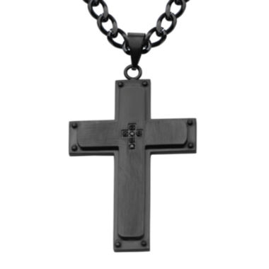 jcpenney.com | Inox® Jewelry Mens Black Cubic Zirconia Stainless Steel & Black IP Cross Pendant