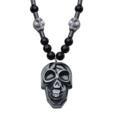 jcpenney.com | Inox® Jewelry Mens Hematite Skull With Black Agate Stainless Steel Bead Pendant