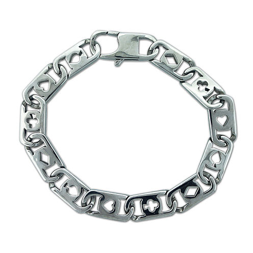 Mens Stainless Steel Deck of Cards Chain Bracelet
