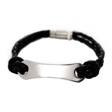 jcpenney.com | Mens Stainless Steel & Leather ID Bracelet