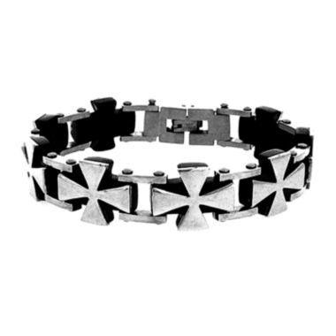 jcpenney.com | Mens Stainless Steel & Black IP Cross Chain Bracelet