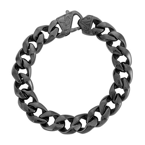 Mens Black Stainless Steel Chain Bracelet