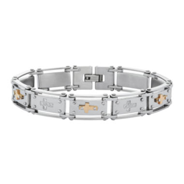 jcpenney.com | Mens Cubic Zirconia Stainless Steel Cross Chain Bracelet