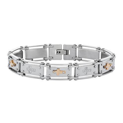 Mens Cubic Zirconia Stainless Steel Cross Chain Bracelet