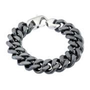 Mens Black Stainless Steel & Black Ceramic Chain Bracelet