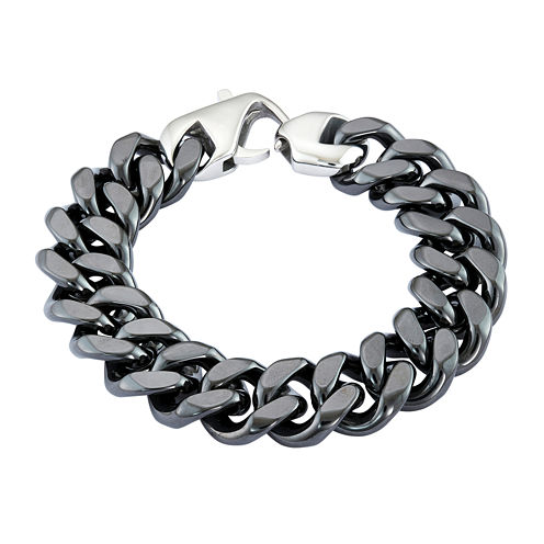 Mens Black Stainless Steel & Black Ceramic Chain Bracelet