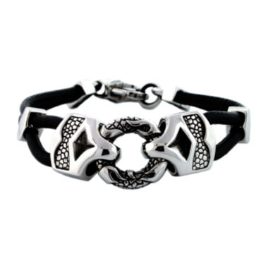 jcpenney.com | Mens Stainless Steel & Leather Bracelet