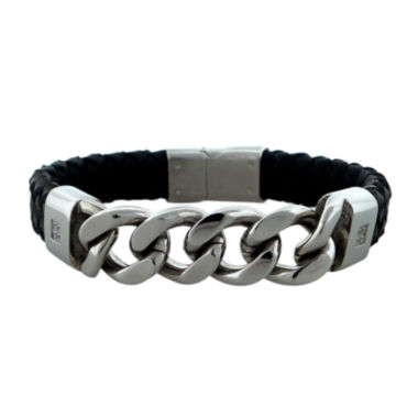 jcpenney.com | Mens Cubic Zirconia Stainless Steel & Leather Bracelet