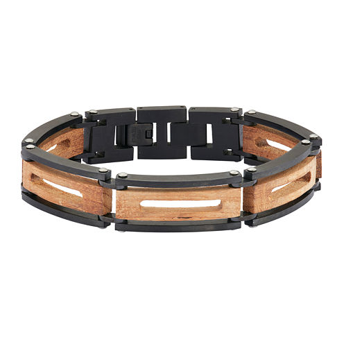 Mens Wood Cut-Out Stainless Steel & Black IP Chain Bracelet