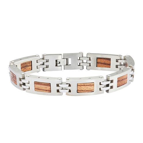 Mens Stainless Steel Chain & Wood Bracelet
