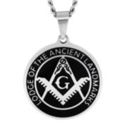 Mens Stainless Steel & Enamel Masonic Emblem Pendant Necklace