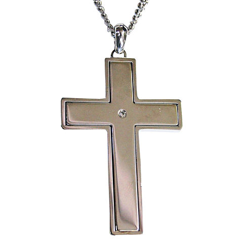 Mens Cubic Zirconia Stainless Steel Lords Prayer Cross Pendant
