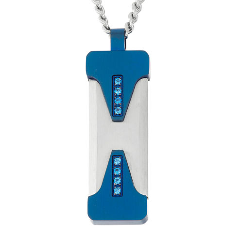 Mens Blue Cubic Zirconia Stainless Steel & Blue Pendant