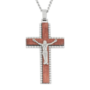 jcpenney.com | Mens Stainless Steel & Wood Crucifix Pendant