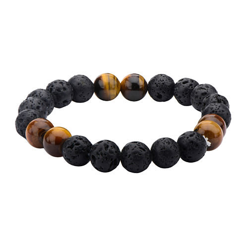 Inox® Jewelry Mens Black Lava & Brown Tiger Eye Stainless Steel Bead Bracelet