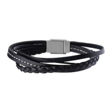 jcpenney.com | Inox® Jewelry Mens Stainless Steel & Leather Bracelet