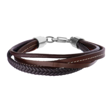 jcpenney.com | Inox® Jewelry Mens Stainless Steel & Leather Layered Bracelet