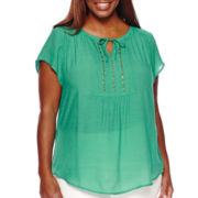 Liz Claiborne® Short-Sleeve Embellished Peasant Top - Petite