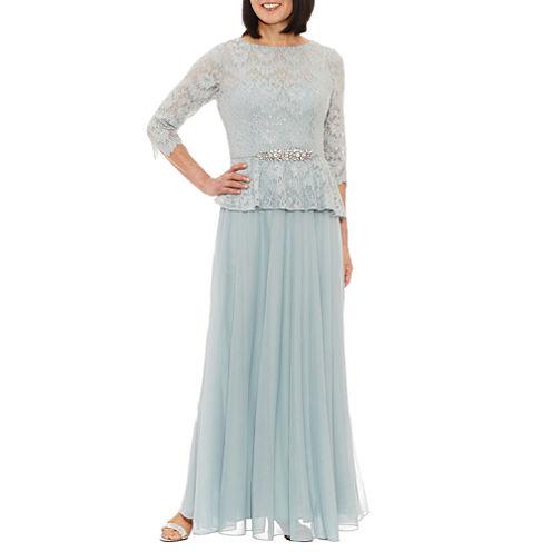 Jackie Jon 3/4 Sleeve Evening Gown