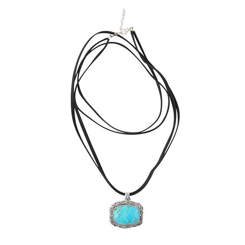 Artsmith By Barse Womens Blue Turquoise Bronze Pendant Necklace