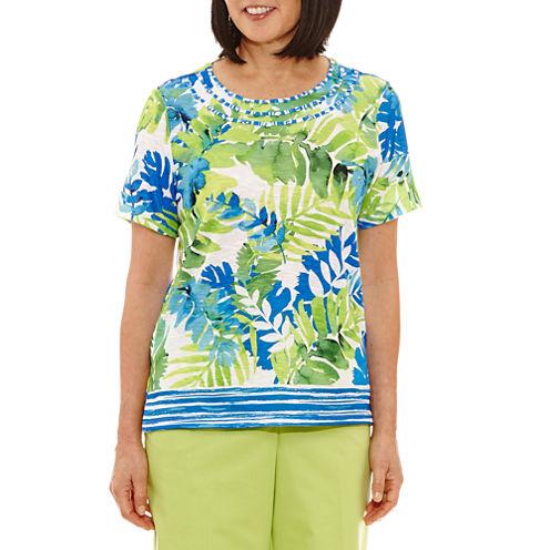 Alfred Dunner Corsica Short Sleeve Crew Neck Floral T-Shirt-Womens