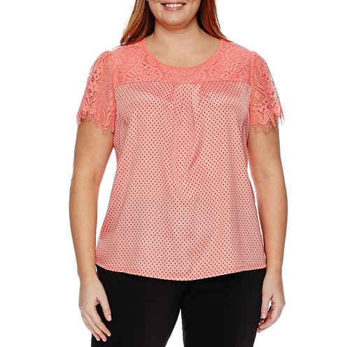Worthington® Short Sleeve Lace Yoke Blouse - Plus