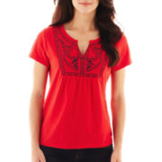 St. John's Bay® Short-Sleeve Split-Neck Embroidered Tee - Petite