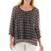 a.n.a 3/4-Sleeve Peasant Top - Plus