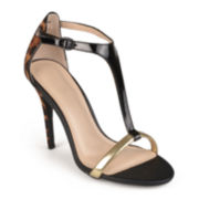 Journee Collection Open-Toe T-Strap Heeled Sandals
