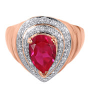 Lab-Created Ruby and White Sapphire Teardrop Ring