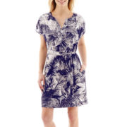 Liz Claiborne® Short-Sleeve Palm Tree Dress