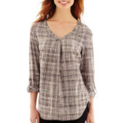 Worthington® 3/4-Sleeve Roll-Tab Tunic Blouse - Tall