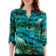 a.n.a® 3/4-Sleeve Roll-Tab Pleated Mandarin Collar Blouse