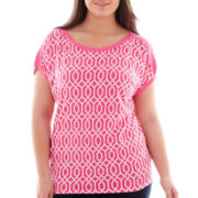 Stylus™ Cap-Sleeve Gathered-Shoulder T-Shirt - Plus