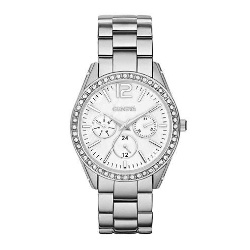 Womens Crystal-Accent Boyfriend Bracelet Watch