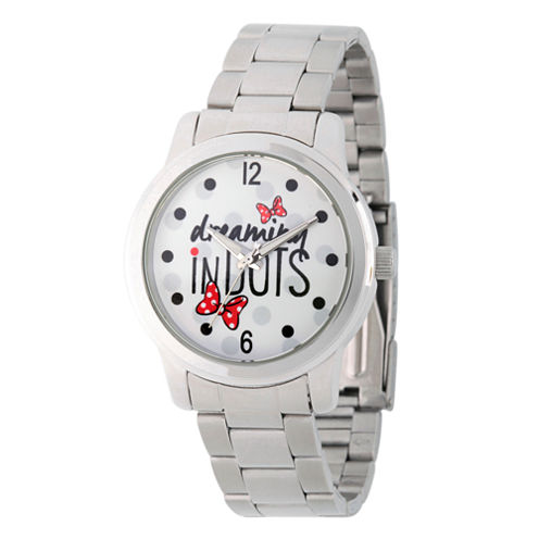 Disney® Womens Minnie Mouse Silver Tone Dreaming In Dots Bracelet Watch