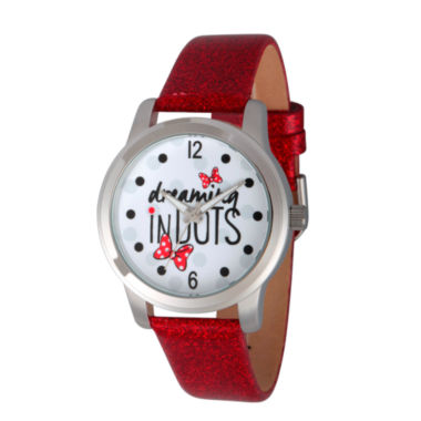 jcpenney.com | Disney® Womens Minnie Mouse Red And Silver Tone Dreaming In Dots Strap Watch