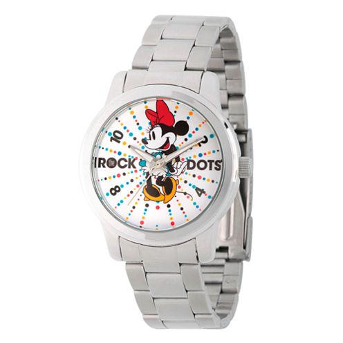 Disney® Womens Minnie Mouse Silver Tone Rock theDots Bracelet Watch