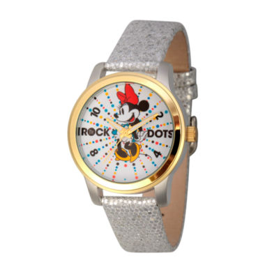 jcpenney.com | Disney® Womens Minnie Mouse Silver And Gold ToneRock the Dots Strap Watch