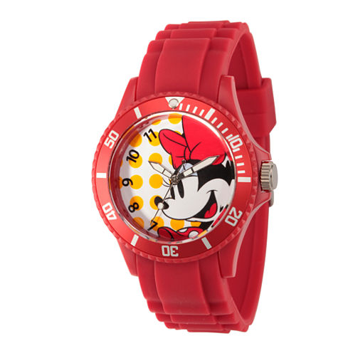 Disney® Womens Minnie Mouse Red Dots Strap Watch